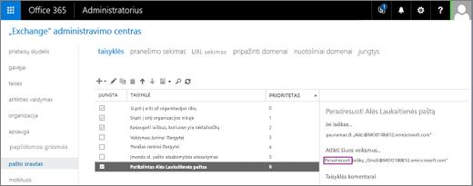 """Ekrano kopijoje pavaizduotas """"Exchange"""" administravimo centro Pašto apdorojimo srauto srities Taisyklių puslapis. Šalia taisyklės, pagal kurią vartotojos Alės Laukaitienės paštas turi būti peradresuojamas, pažymėtas žymės langelis Įjungta."""