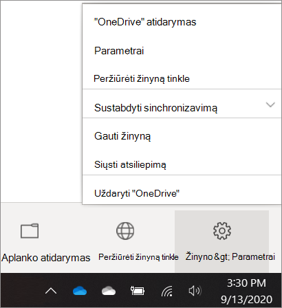 """Ekrano nuotrauka, kaip pasiekti """"OneDrive"""" parametrus"""