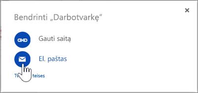 """El. laiško pasirinkimo """"OneDrive"""" bendrinimo dialogo lange ekrano nuotrauka"""