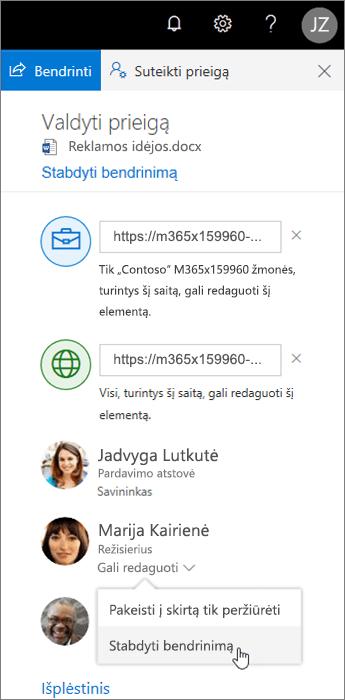"""Bendrinimo keitimas arba sustabdymas programoje """"OneDrive"""""""