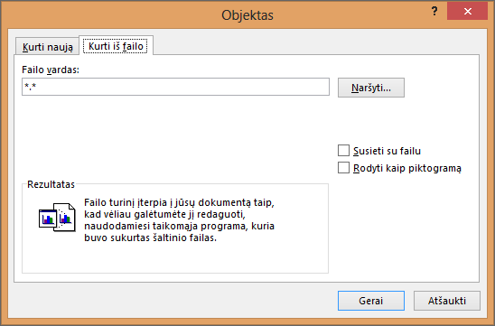 Create from File tab in the Object dialog box