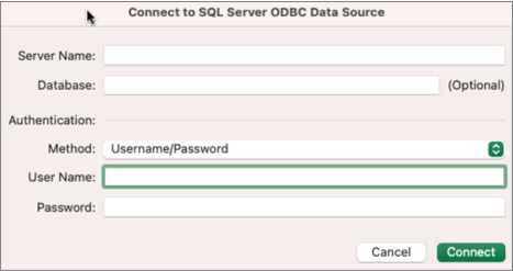 """Dialogo """"SQL Server"""", kuriame įvedamas serveris, duomenų bazė ir kredencialai"""