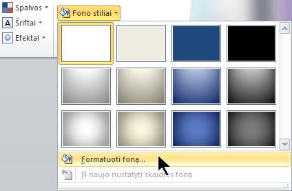 Skirtuko Dizainas dešinėje pusėje pasirinkite Fono stiliai, tada pasirinkite Formatuoti foną