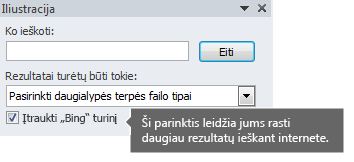 """Įjungę parinktį Įtraukti """"Bing"""" turinį, gausite daugiau ieškos rezultatų, iš kurių galėsite rinktis."""