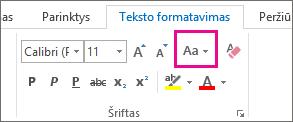 Mygtukas Keisti didžiąsias raides mažosiomis ir atvirkščiai skirtuke Teksto formatavimas