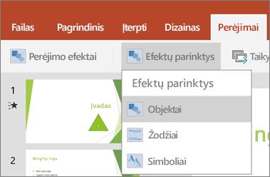 """Rodo perėjimai > efekto parinktys meniu programoje """"PowerPoint"""", skirta """"Android""""."""