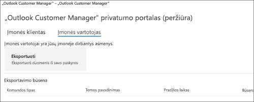 """Screnshot: """"Outlook Customer Manager"""" darbuotojų duomenų eksportavimas"""