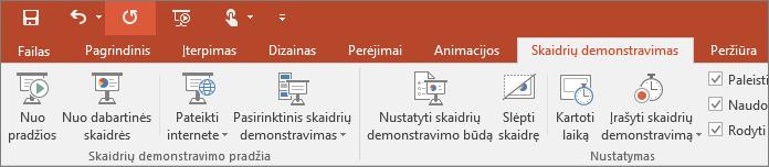 """Programos """"PowerPoint"""" juostelėje rodomas skirtukas Skaidrių demonstravimas"""