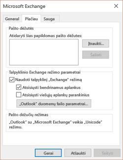 Atidaryti papildomų pašto dėžučių arba keisti duomenų failo parametrai