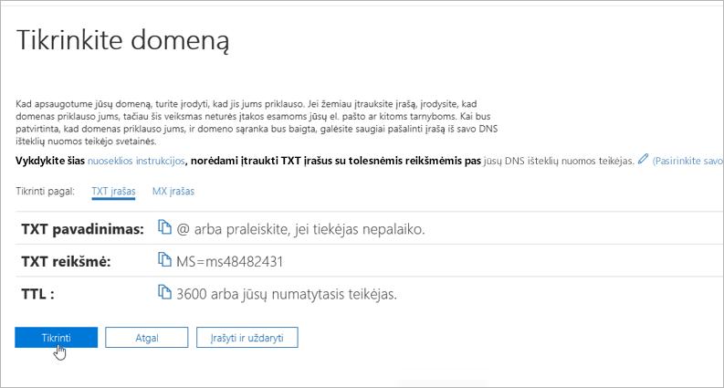 Freenom patikrinkite domeną naudodami Office 365_C3_2017617122635