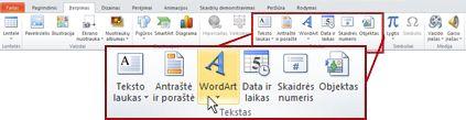 """Skirtukas įterpti """"PowerPoint 2010"""", """"WordArt"""" mygtukas."""