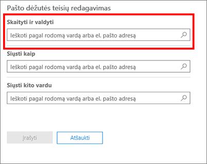 Ekrano nuotrauka: įtraukti vartotojus, kad jie galėtų skaityti ir tvarkyti šio vartotojo pašto dėžutę