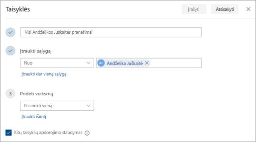 Ekrano nuotrauka, kurioje taisyklių parametrų puslapis