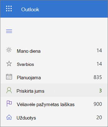 """""""Microsoft"""" pateikto sąrašo priskirtų sąrašo ekrano nuotrauka"""
