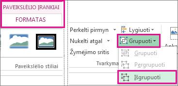 Mygtukas Išgrupuoti skirtuke Piešimo įrankiai Formatas