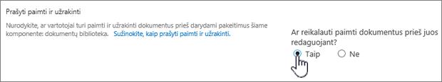Parametrų dialogo langas, kuriame taip pažymėti reikalauti paimti ir užrakinti į redaguoti