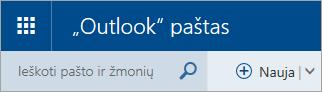 """Klasikinės """"Outlook.com"""" pašto dėžutės viršutiniojo kairio kampo ekrano nuotrauka"""