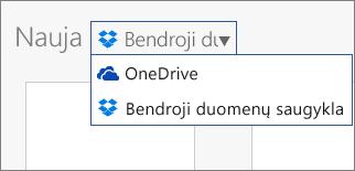 """Vaizdas, rodantis """"Dropbox"""" įtrauktą vietose, kuriose galite kurti naujus failus """"Office Online"""""""