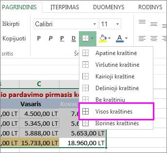 lentelės arba duomenų diapazono kraštinių pridėjimas
