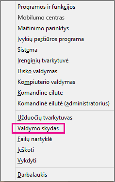 """Office 2016"" ""Windows 8"" valdymo skydas"