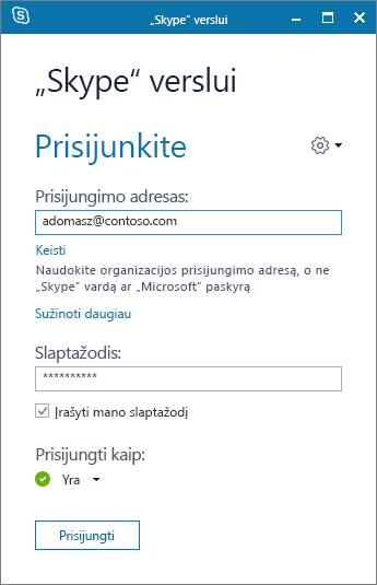"""Ekrano nuotrauka, vaizduojanti prisijungimo prie """"Skype"""" verslui ekraną."""