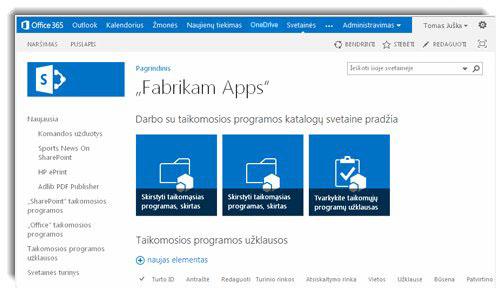 Taikomųjų programų katalogo svetainės pagrindinio puslapio ekrano nuotrauka.