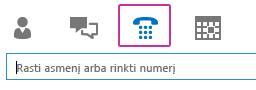 """""""Lync"""" pagrindinio lango skirtukai su pažymėta klaviatūra"""