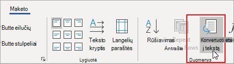 Parinktis Konvertuoti į tekstą yra paryškinta skirtuke Lentelės įrankiai Maketas.