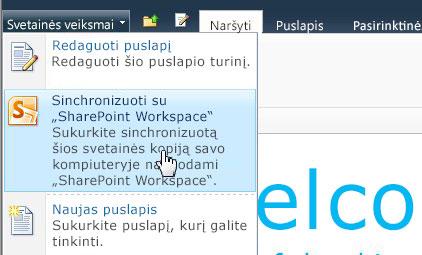 """Pasirinkę šią parinktį sinchronizuokite """"SharePoint"""" svetainę su savo kompiuteriu"""
