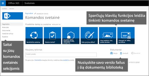 Pradiniame komandos svetainių puslapyje yra dažniausiai naudojamų svetainės tinkinimo funkcijų plytelės.