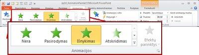 """Skirtukas Animacijos programos """"PowerPoint 2010"""" juostelėje"""
