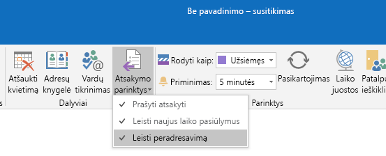 "Peradresavimo parinkties programoje ""Outlook"" leidimas"