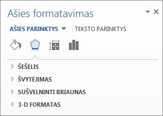 Ašies formatavimo parinkčių sąrašas kaip diagramos elementų redagavimo pavyzdys