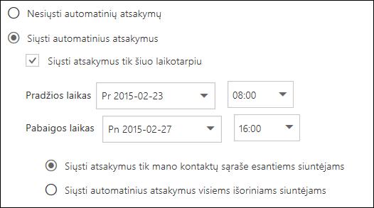 """Žiniatinklio """"Outlook"""" automatinių atsakymų laiko nustatymas"""