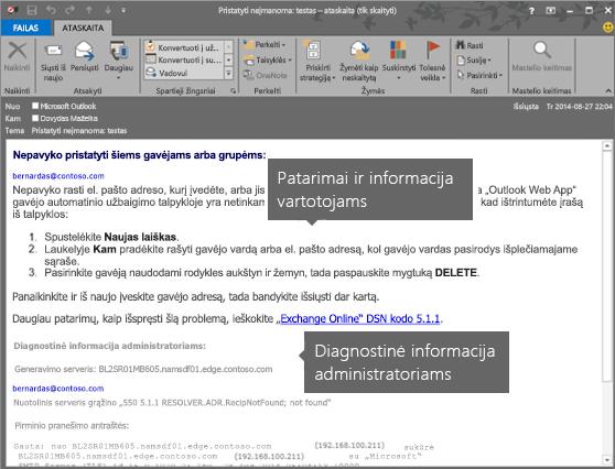 NDR, kurioje rodoma vartotojų ir administratorių diagnostikos informacija