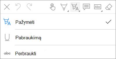 """""""OneDrive"""", skirta """"iOS"""" PDF žymėjimo paryškinti meniu"""