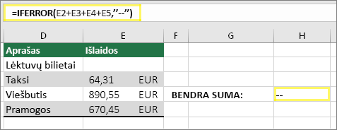 """Langelis H4 su =IFERROR(E2+E3+E4+E5,""""--"""")"""