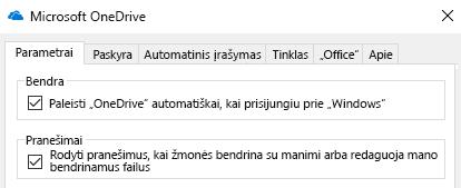 """Išjungti visus pranešimus bendrinamos """"OneDrive"""" failus, eikite į savo """"OneDrive"""" taikomosios programos parametrus arba juos išjungti."""