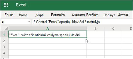 """""""Excel"""", skirta žiniatinkliui su įklijuota hipersaitu"""