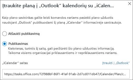 """Ekrano įtraukti planą, kad """"Outlook"""" kalendoriaus dialogo langas"""