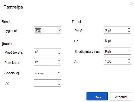 """Pastraipų parinkčių dialogo langas internetinėje """"Word""""."""