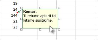 Spustelėkite komentaro lango kraštinę norėdami jį perkelti arba pakeisti jo dydį