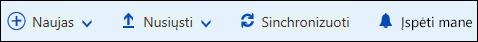 """""""Office 365"""" dokumentų bibliotekos pagrindinį meniu"""