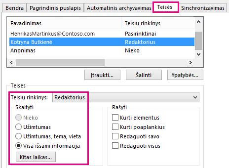"""Skirtukas Kalendoriaus bendro naudojimo teisės programoje """"Outlook 2013"""""""