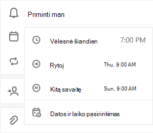 Užduočių išsamios informacijos rodinys atidaromas su pažymėta parinktimis priminti, kaip pasirinkti vėliau šiandien, rytoj, kita savaitė arba pasirinkti datą & laiką
