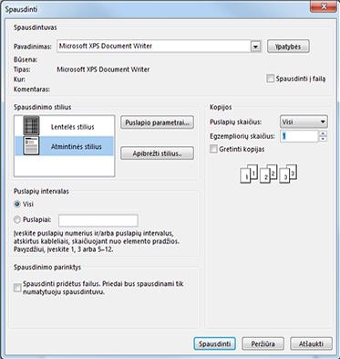 """""""Outlook"""" spausdinimo dialogo lango spausdintuvo parinktys"""
