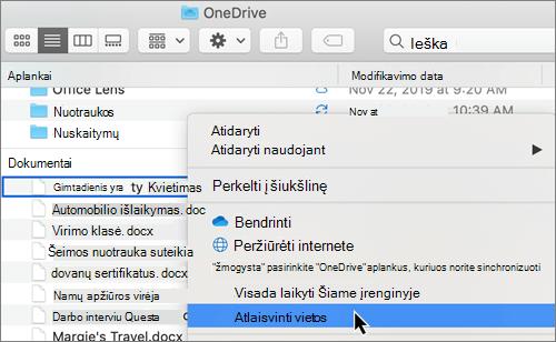 """Ekrano apie """"OneDrive"""" failų pareikalavus parinkčių ieškiklis """"Mac"""" kompiuteryje"""