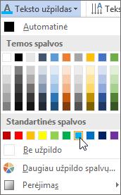 Teksto užpildo spalvos pasirinkimas
