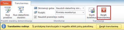 """transliacinio skaidrių demonstravimo metu programoje """"Powerpoint 2010"""" pasirodo skirtukas transliuoti."""