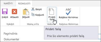 Redaguoti skirtukas juostelėje su paryškintu pridėti failą.